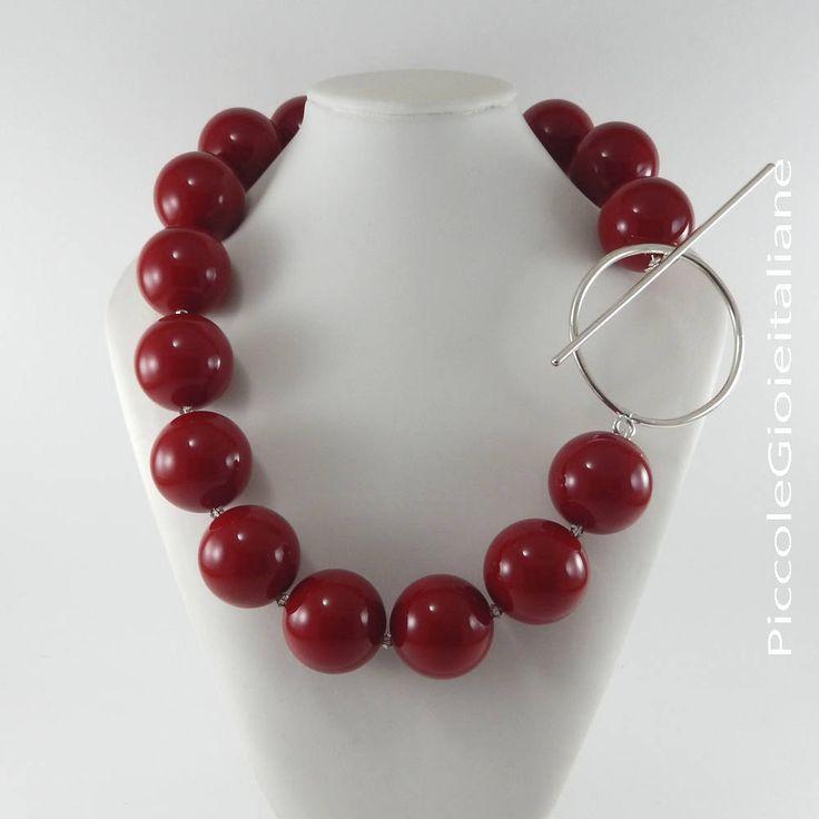 Collana moderna Collana perle  grandi Collana rossa Collana artigianale Collana particolare Collana argento Collana moda Collana designer di PiccoleGioieitaliane su Etsy