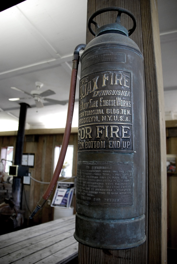 Antique Fire Extinguisher - cool idea to mount on wall or post