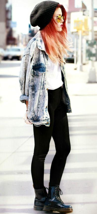 OUTFIT: black beanie, white top, black skinny jeans or leggings (?), black doc martins, acid-washed denim jacket