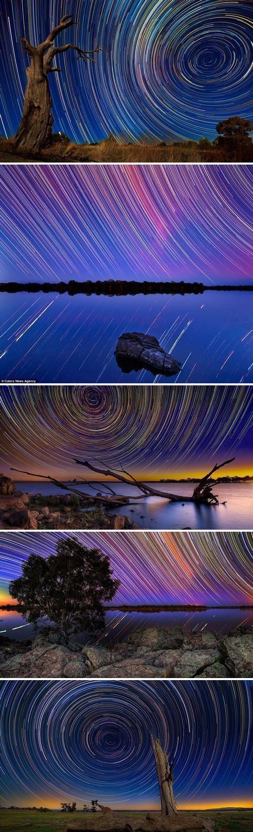 Extremely long exposure: Photographer Lincoln Harrison endures 15-hour shoots in the wintry Australian outback to snare stunning images of star trails in the night sky.