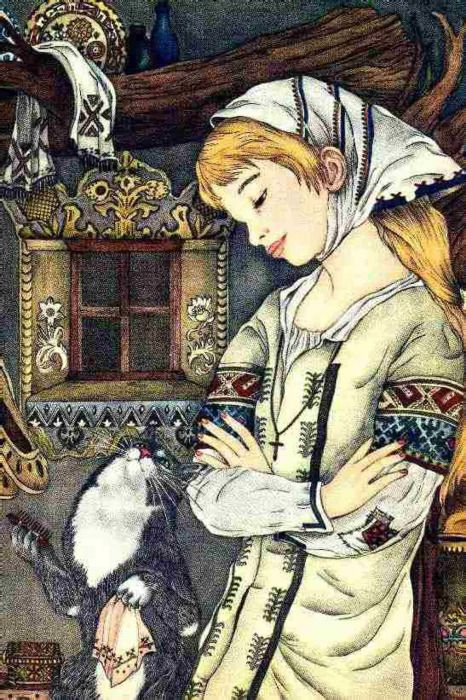 """""""Baba Yaga's Cat"""" from My Big Book of Cat Stories, illustrated by Adrienne Segur"""