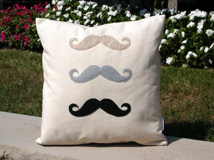 3 Felt  Moustaches Pillow, 3 Felt Mustaches Cushion, Felt Pillow, Canvas Pillow. $45.00, via Etsy.