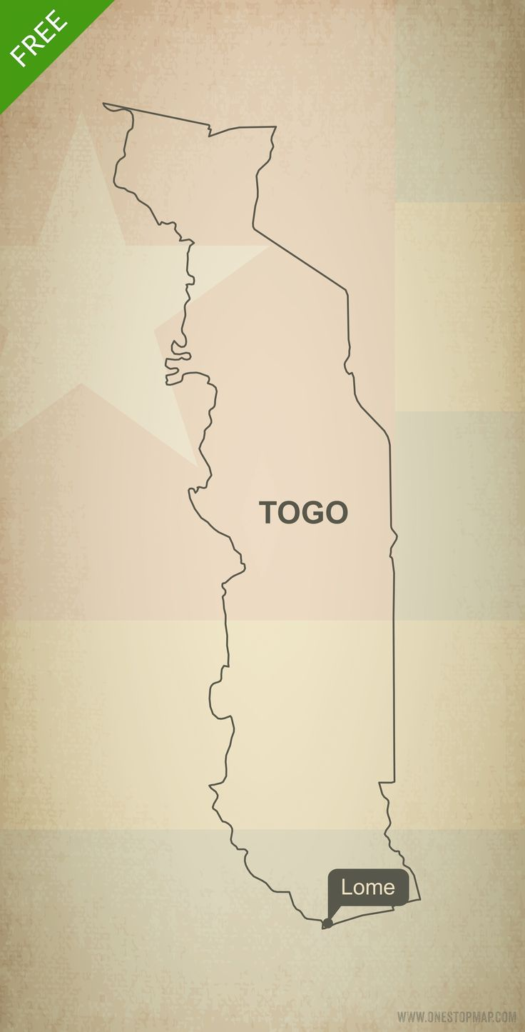 Free map of Togo outline Printable