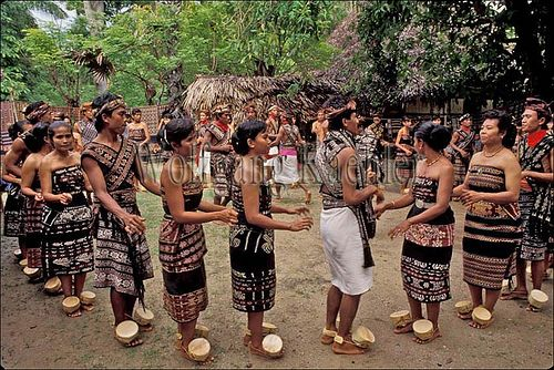 Indonesia, sawu (Seba) Island village, display of traditional ikat weavings, local girl