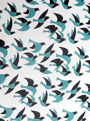 鳥【textile design makumo】 Would love to make a cute little shirtdress with this.