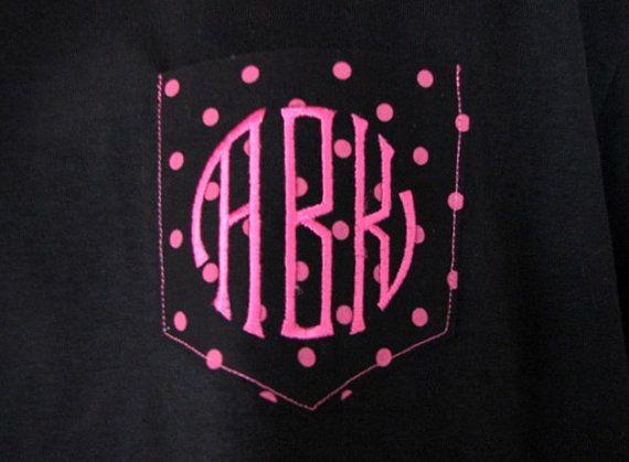 Monogrammed Gifts Pocket Tee Polka Dot Shirt shirts tshirt Pocket Monogram t shirt Personalized Gifts - Embroidered