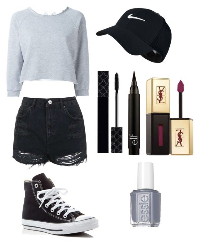 """""""Untitled #25"""" by shaycarrrr ❤ liked on Polyvore featuring GaÃ«lle Bonheur, Topshop, Converse, Gucci, NIKE, Yves Saint Laurent and Essie"""