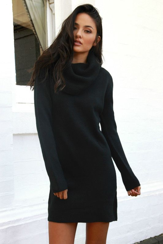 Anarchy Roll Neck Knit Dress - Madison Square