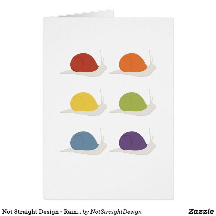 Not Straight Design - Rainbow Snails card