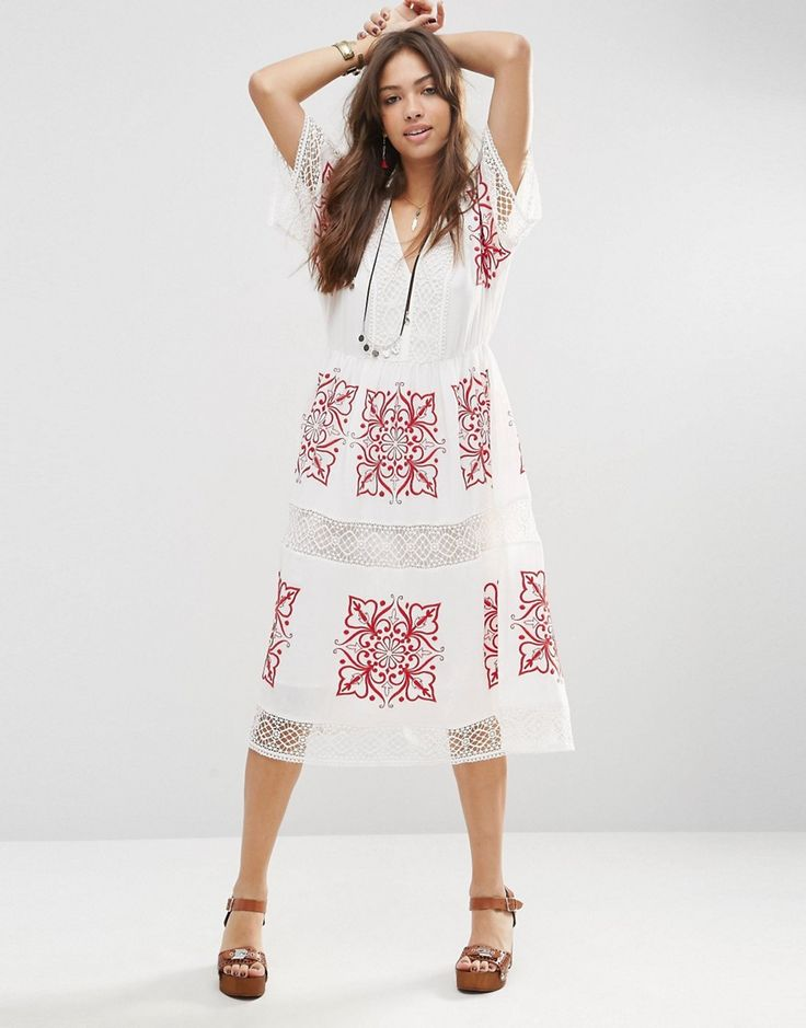 Image 1 ofASOS PREMIUM Cutwork Midi Dress with Red Embroidery