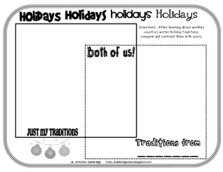 Comparing our holiday traditions to another country's... great resource for any Christmas Around the World unit.
