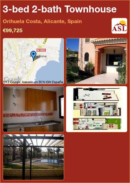 3-bed 2-bath Townhouse in Orihuela Costa, Alicante, Spain ►€99,725 #PropertyForSaleInSpain