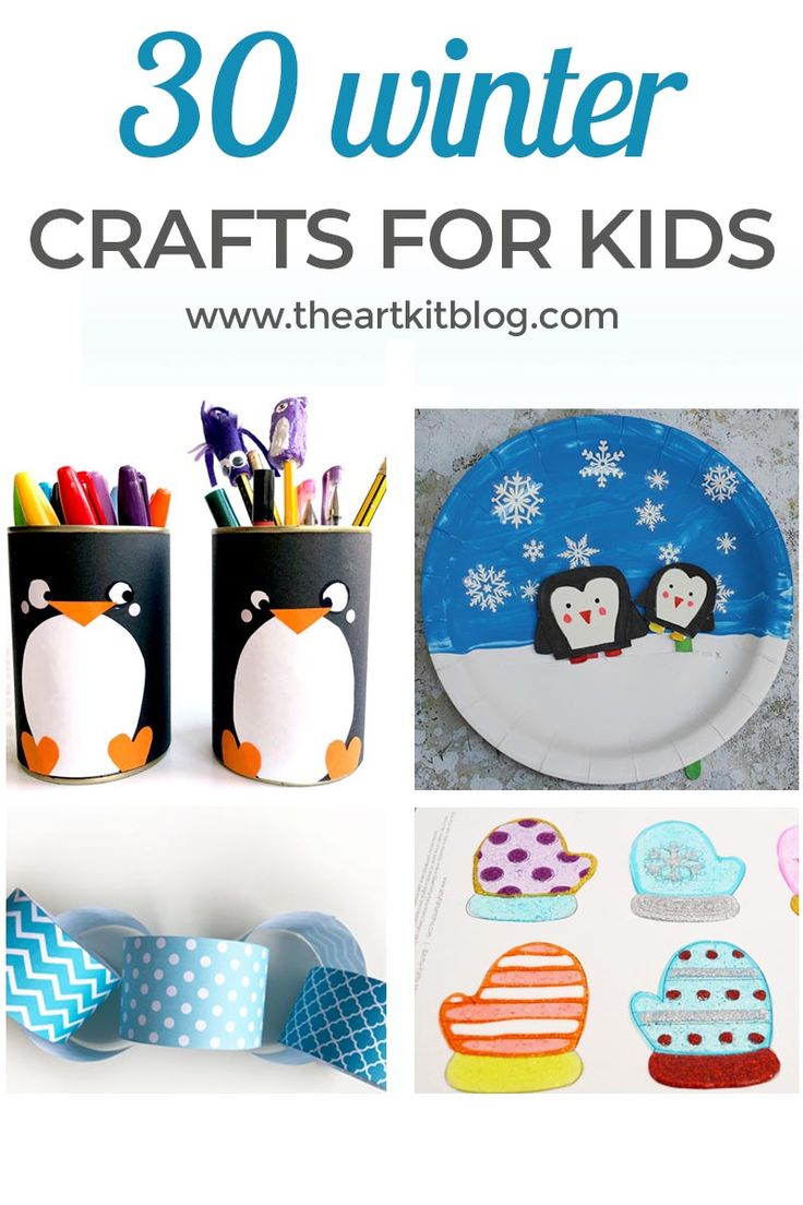 30 Winter Crafts for Kids. Winter is here and to celebrate the season, we've put together a fun-filled list of 30 winter crafts for kids. From pom pom snowmen and polar bear bookmark corners to DIY window clings and coloring pages, we've included enough winter themed activities to keep you and the little ones busy all winter long. To see all the fun, please continue reading on the blog. via @theartkit