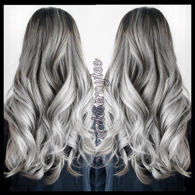"""""""Sliver fox #ombre #ombres #ombrehair #ombrebalayage #OOTD #silver #silverhair #silverombre #pastel #pastelcolor  #winnipeg #hairgasm  #hairporn…"""""""
