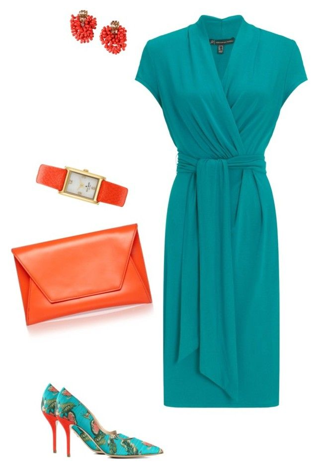 """""""Wrapped in Tourqouise"""" by alisonstylecoaching on Polyvore featuring Adrianna Papell, Paul Andrew, Kate Spade and Dsquared2"""