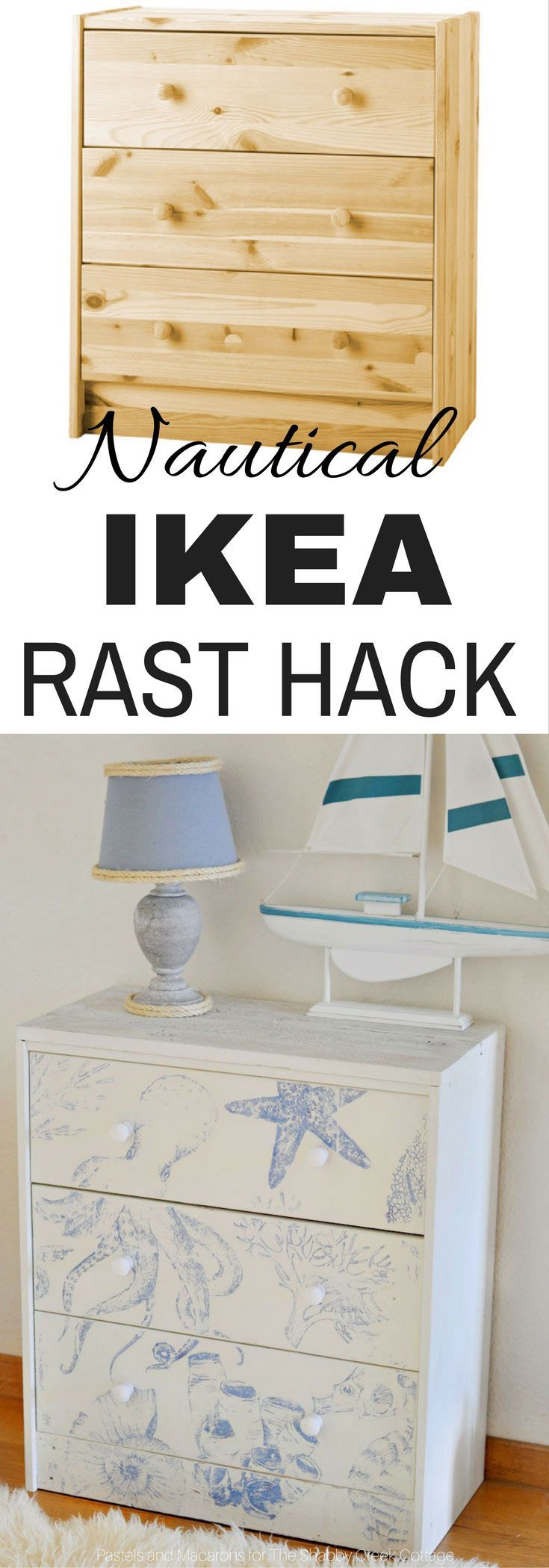 Unique and Beautiful Ikea Rast Hack for a Nautical Themed Bedroom. An easy DIY with big impact.