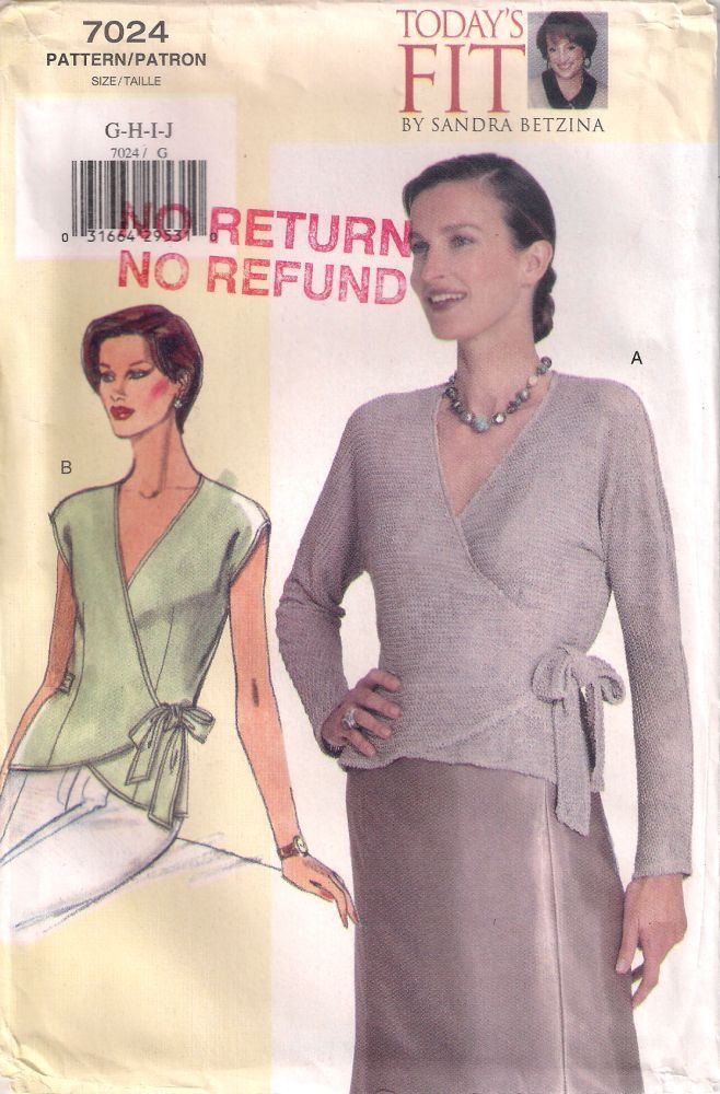 Vogue 7024 Sewing pattern, misses' petite top sewing pattern, Sandra Betzina Today's Fit, bust 46in - 55in  plus size G H I J, complete by Rethreading on Etsy