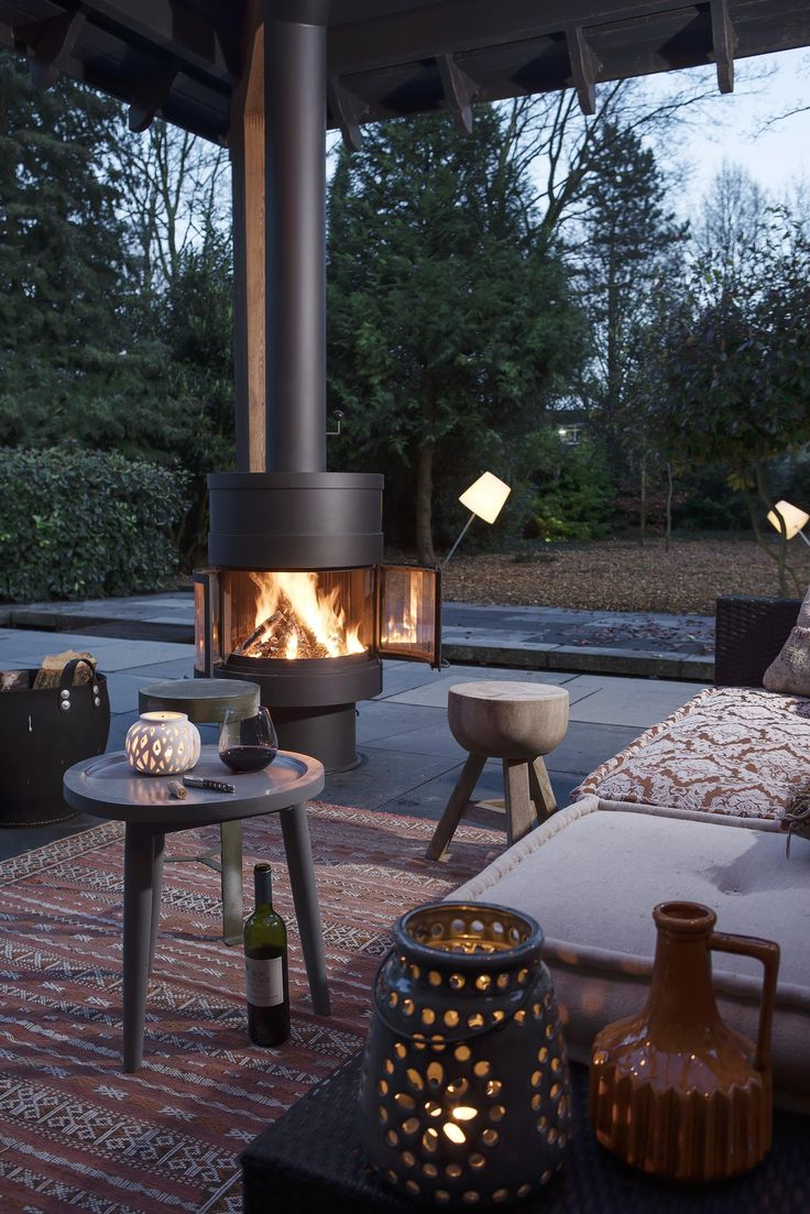 This Beautiful Free Standing Designer Outdoor Fireplace
