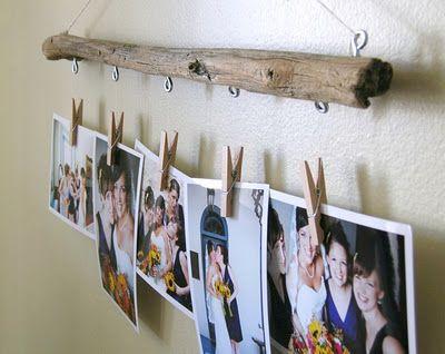 driftwood photo hanger display tutorial.