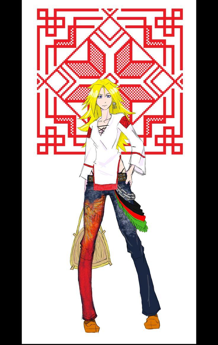 URBAN KARELIAN finno-ugric ornament on background.. Kokko-pattern on jeans..