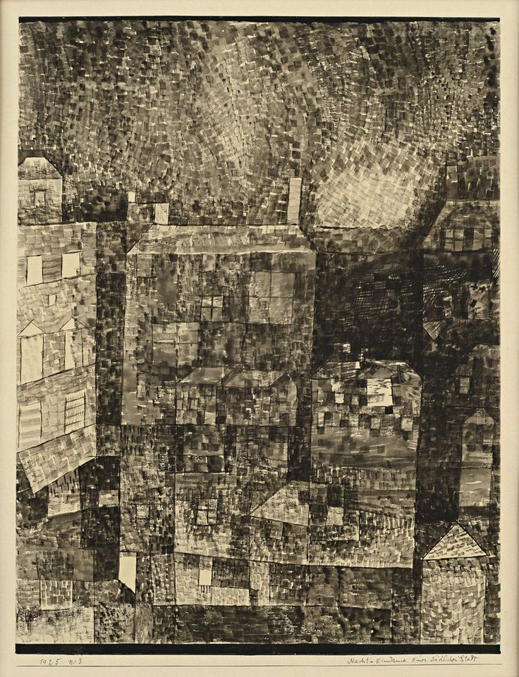Paul Klee, Nacht - Eindruck einer Südlichen Stadt (Night - Impression of a Southern Town), 1925. Pen and black ink, black and grey wash.
