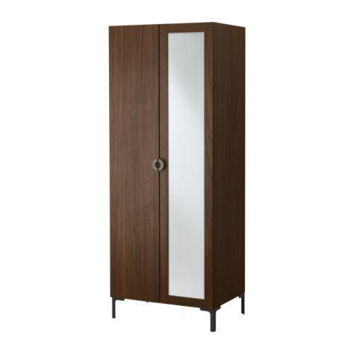 ENGAN Wardrobe with 2 doors IKEA A mirror door makes the room feel bigger.