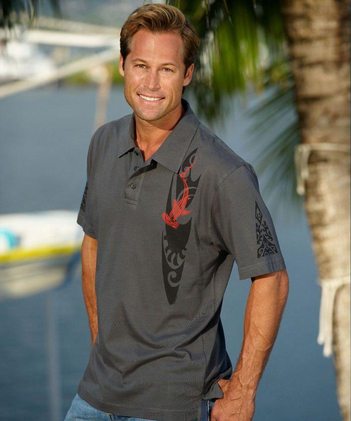 Woodcut Shark - Smoke Pima Polo Shirt