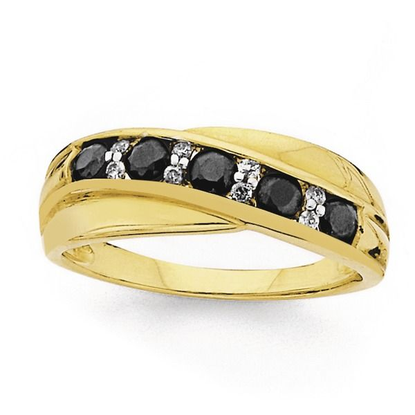 9ct Gold Sapphire & Diamond Crossover Ring
