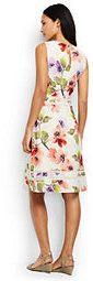 Lands' End Women's Sleeveless Woven Lace Trim Dress-Eggshell White Multi Blossom