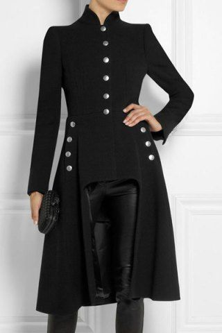 Stylish Stand-Up Neck Long Sleeve Button Design Asymmetrical Women's CoatCoats | RoseGal.com