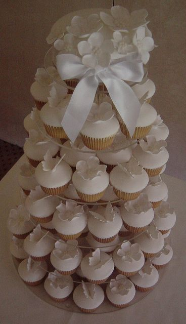 Butterfly and flower white cupcake tower