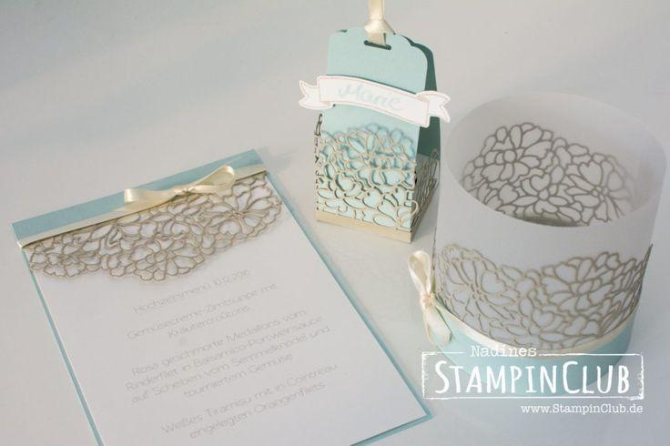 """Stampin Up Hochzeit Winterhochzeit Hochzeitspapeterie """"Liebe zum Details"""" Thinlits Formen Menükarte Gästegoodies Windlicht"""