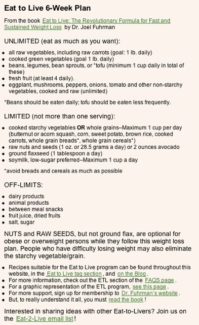 Eat to Live 6-Week Plan in so excited to see whats at the end of 6w