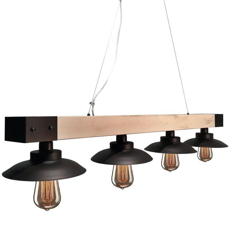 Ξύλινο πολύφωτο ελληνικής κατασκευής. Ολοκλήρωσε τον χώρο της τραπεζαρίας σου επιλέγοντας φωτιστικά από την Industrial Collection - Lampadari