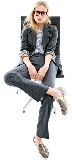 """Gayle On: Summer Office Style - PLAY WITH YOUR SUIT """"If you work in a more casual office, try a sporty metallic slip-on with a structured suit. If it doesn't fit with your dress code, then it's a chic, comfortable way to update your commute.""""  (Campbell blazer + 1035 trouser in pinstripe + Rivieras Lord slip-on sneakers) @ J Crew blog"""