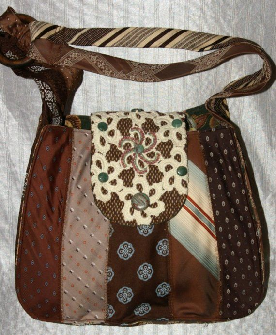 Upcycled-Repurposed Brown and Blue Colored Hobo Style Shoulder Bag Neck-Tie Purse