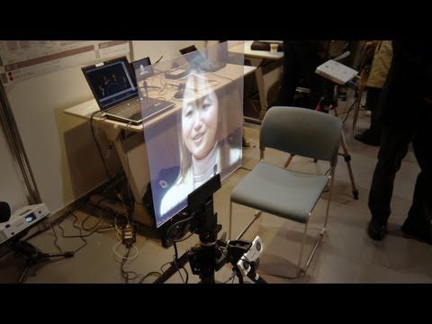 NTT videoconferencing system transplants faces onto mobile telepresence screens
