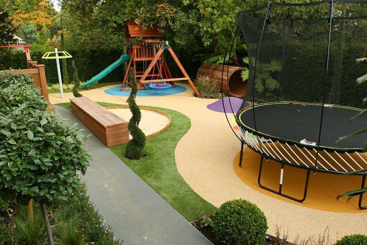 Spielplatz Fur Die Kinder Im Garten Mit Rutsche Schaukel Und Trampolin Deavita Achtertuinideeen Layout Cottage Patio