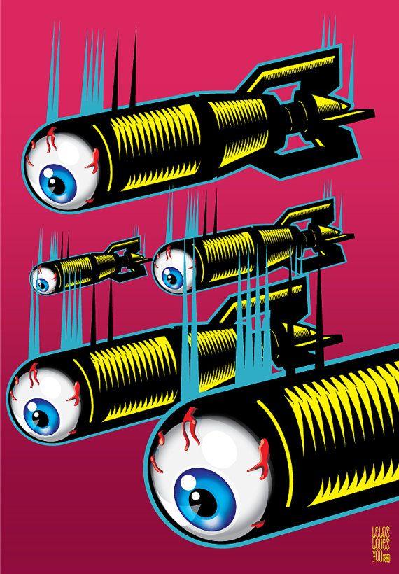 Night Lights Poster art by LelosLovesYou by Spookboy on Etsy, €20.00