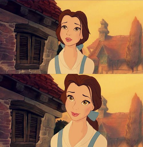 When Paige O'Hara auditioned for the part of Belle, a piece of her hair flew in her face and she tucked it behind her ear...the producers liked this, and put it in the movie :)