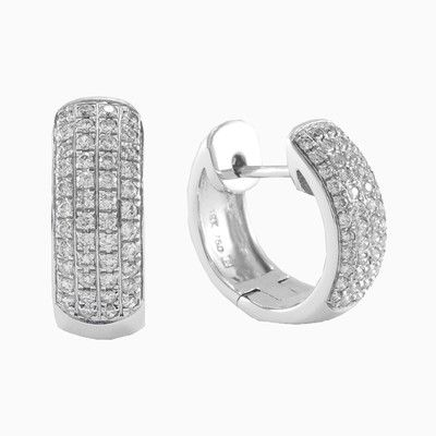 Modern design of the earrings in 18k white gold with diamonds, with a total weight 0.40ct. Thanks to the elegant appearance of the earring fasting it is organically incorporated into jewelry design. Earrings are very practical and comfortable.