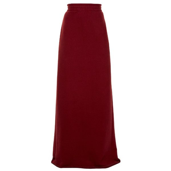 Shop Vetements Logo-print Cotton-blend Maxi Sweat Skirt at Modalist |... ($500) ❤ liked on Polyvore featuring skirts, long maxi skirts, red skirt, maxi length skirts, maxi skirts and long red maxi skirt