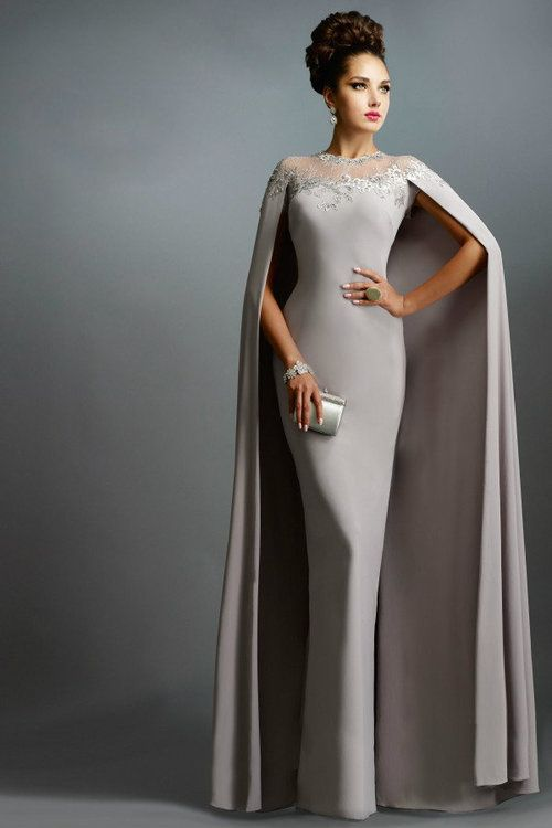 bbc8ad378b2af Buy the Long Fitted Gown with Cape C1168 by Janique at CoutureCandy ...