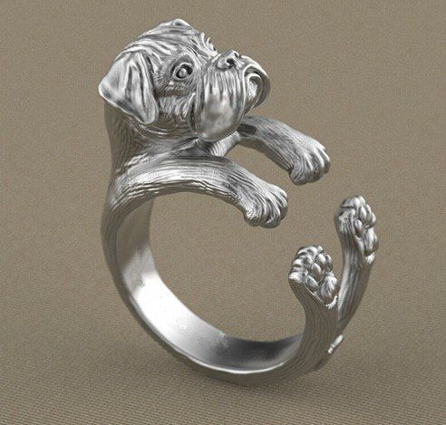 1PCS drop ship newest  adjustable retro punk boxer Ring free size hippie animal boxer dog Ring jewelry for pet lovers