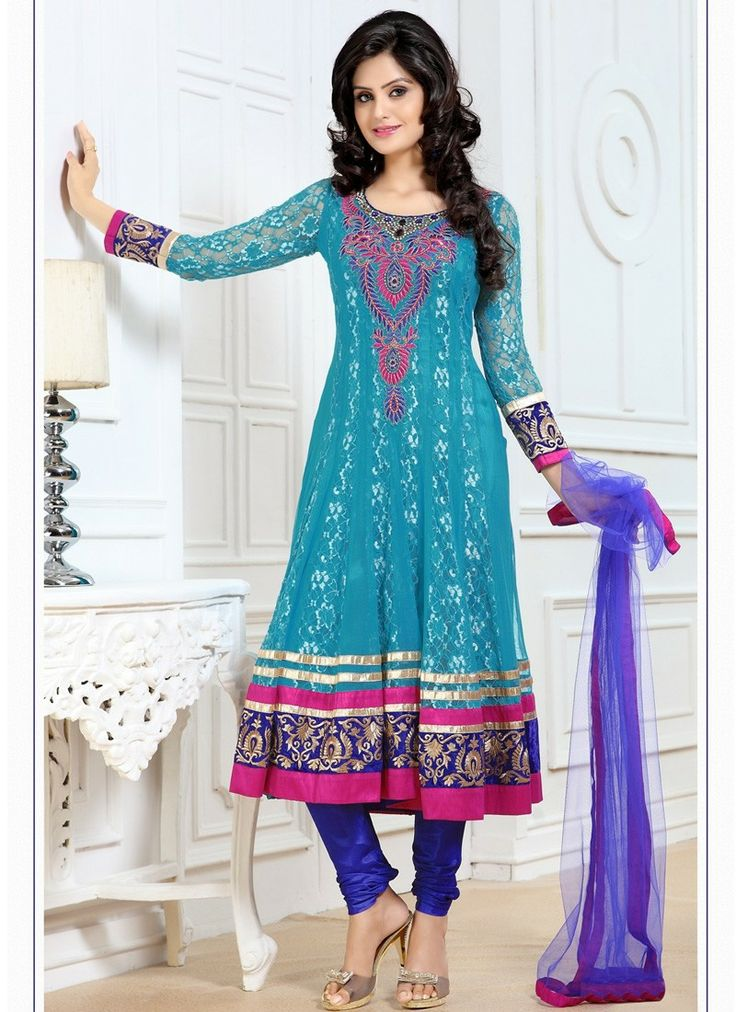 This Brilliant Array Will Make You The Ultimate Classic Beauty At The Next Event You Attend. Add Grace And Charm To Your Appearance In This Beautiful Cyan Blue Net,Super Net Salwar Kameez. Beautified With Chikan Work,Karachi Work,Lace,Resham,Stones Work All Synchronized Well With The Pattern And Design Of The Attire.