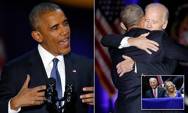 Barack Obama pays tribute to Joe Biden, in emotional farewell speech