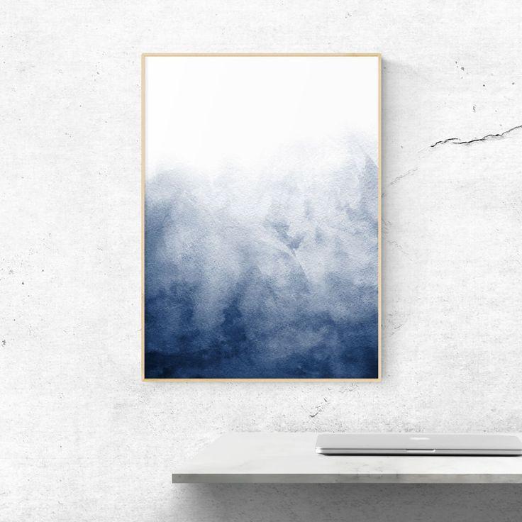 Minimalist Blue Watercolour Painting 3 Minimalist Watercolor Abstract Painting Print Minimalist Artwork