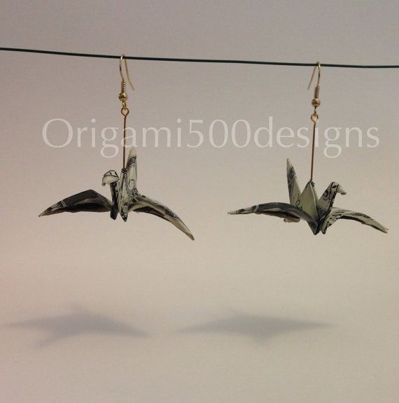 A Beautiful Handcrafted Money Origami money crane Earrings Made Of Real one Dollar Bills