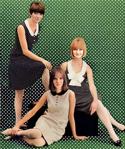 Seventeen Magazine, March 1965 vintage fashion dress mini sheath shift polka dots bow school girl black white tan brown 60s models