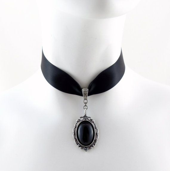 Black Satin Choker with Stone Cabochon Pendant in Ornate Pewter Setting - Victorian, Lolita, Gothic, Goth, Chocker, Necklace, Jewelry on Etsy, $30.77 CAD